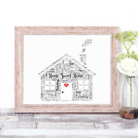 Personalised House Word Art Print New 1st Home Gift Keepsake Mother's Day Memory