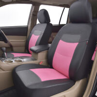 2 Car Seat Covers Leather Universal Front Set Pink Airbag Compatible Women Girls