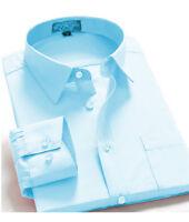Men's Regular Fit Long Sleeve Solid Color One Pocket Dress Shirt In Light Blue