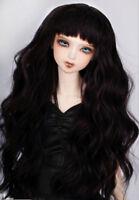 "8-9"" 1/3 BJD Long Black Curly Wavy Wig LUTS Doll SD DZ DOD MSD Soom Hair UAL#"