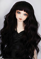 "8-9-10"" 1/3 BJD Long Black Curly Wavy Wig LUTS Doll SD DZ DOD MSD Soom Hair UAL#"