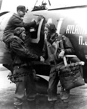 Double Signed 8x10 Photo of Bob Johnson 27V and Bud Mahurin 24V Standing by P-47