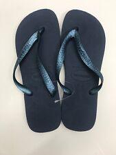 Havaianas TOP Women's Flip Flops - Size Brazilian 41/42 Metallic Blue Indigo