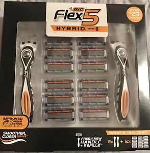 Bic Flex 5 Hybrid 2 Handles 12 Refill Replacements Shaving Razors