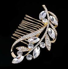 Bride Wedding Gold Tone Leaf Hair Pin Comb Accessories Rhinestone Crystal