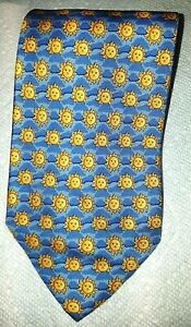 MENS TIE MADE IN ITALY 100% SILK EXIMIOUS OF LONDON YELLOW&BLUECOLOR SUNFLOWER