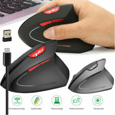 Wireless Vertical Ergonomic Working USB Optical Mouse 2400 DPI 6 Buttons For PC