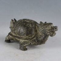Old china bronze hand-carved Longevity dragon turtle statue