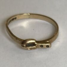 Vintage Solid 9ct Yellow Gold Buckle Ring Size K1/2 1981