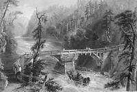 CANADA Wooden Bridge near Quebec - 1840s Engraving Print by BARTLETT