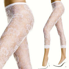 White Floral Lace Sheer Stockings High Waters Open Feet Lace Trim Summer Tights