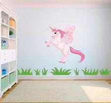 Pink Unicorn pony horse Cartoon Nursery Childs Bedroom Vinyl Wall Art Sticker
