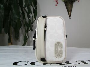 NWT Coach NS Signature Canvas Hybrid Pouch With Coach Patch 32708 Chalk Steam
