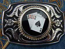 NEW  ACE OF SPADES FULL HOUSE CARDS BELT BUCKLE SILVER/BLACK METAL,WESTERN