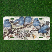 Custom Personalized License Plate Auto Tag With Amazing Blue Birds On Branch