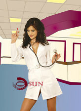 Women Sexy Lingerie White Coat Doctor Nurse Fancy Dress Costumes Halloween 6-10