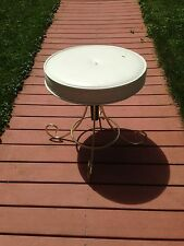 Vintage Brass Plated Vanity Stool Bench Padded Seat Adjustable 4 Scrolled Feet