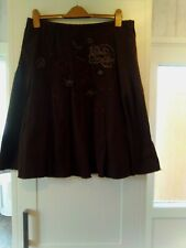 Next Knee Length Brown Pleated Embroidered Skirt Size 16