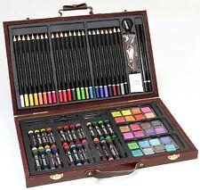 78-tlg. KÜNSTLER-Set MALSET im Holzkoffer: Stifte, Wasserfarben, Ölpastell usw