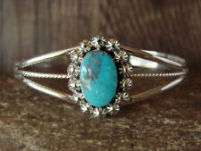 Navajo Indian Turquoise Sterling Silver Bracelet by Gregg Yazzie