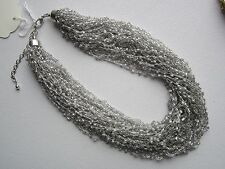 36-Strand Woven Silver Seed Bead Necklace