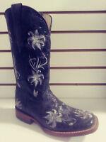 New Ferrini Women Leather Cowboy Western Distressed Floral Boot Black Sq Toe 8.5