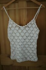 Ladies Hennes Collection Crochet Top , White , Size M V Neck