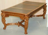 LARGE THE LORD RAFFLES LION WRITING TABLE DESK THREE DRAWERS CARVED WOOD DINING