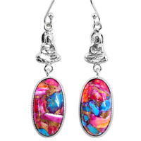 16.28cts Spiny Oyster Arizona Turquoise 925 Silver Buddha Charm Earrings R62394
