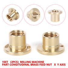 2pc Set Milling Machine Part Longitudinal Brass Feed Nut Xy Axis For Bridgeport