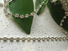 10 yds Clear Crystal Rhinestone Silver Chain Trim Cake Banding Decoration 4mm