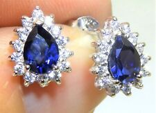 Kate Style 925 Sterling Silver Sapphire & Diamond PEAR Cluster  Stud Earrings