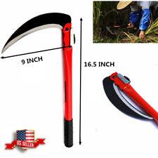 16 Inch Folding Sickle Scythe Steel Mowing Knife Grass Cutting Garden Tool Farm