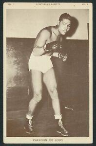 JOE LOUIS BOXING 1930's ADVERTISING POSTCARD SPORTSMAN'S GAZETTE WITTONE SALES