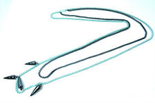 LADIES LONG GUN GREY/BABY BLUE NECKLACE STUNNING UNIQUE (ST69)