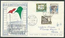 1958 ITALIA FDC RE.RU. DECENNALE COSTITUZIONE TIMBRO DI ARRIVO - IT08