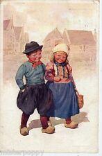 FEIERTAG Boy & Girl Bambini Olandesini a passeggio PC Viaggiata 1912