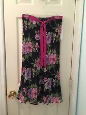 NWT Allison Taylor floral 100% silk skirt w elastic waist w silk belt size small