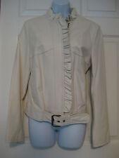 Paul & Joe for Target leather jacket coat winter white belted biker Size L