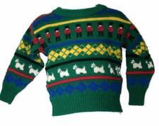 PITIOCHRU of SCOTLAND CHILD Knit Sweater Green Dogs LS Acrylic yr Sz 24 CL4