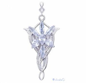 Arwens Abendstern Replik mit 7 diamantähnlichen Zirkon-Kristallen, hard Platined