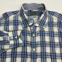 Thomas Dean Button Up Shirt Men's 2XLT XXLT Long Sleeve Plaid Casual 100% Cotton