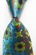 New Classic Floral Sea Blue Yellow Orange JACQUARD WOVEN Silk Men's Tie Necktie