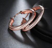 """Radiant rose gold plated multi cubic zirconia 1.25"""" hoop earrings"""