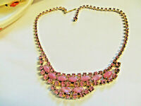 VTG D&E Gorgeous Pink Moonglow Amethyst AB Rhinestone Juliana GP Necklace
