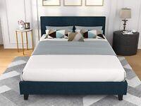 Queen Size Linen Metal Platform Bed Frame w/ Upholstered Bedroom Furniture Blue