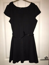 Papaya Black Flare Dress & Patent Belt size 18 NEW RRP £16