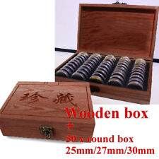 Wood Style Coins Display Storage Box Case for Slab Certified Container Capsules
