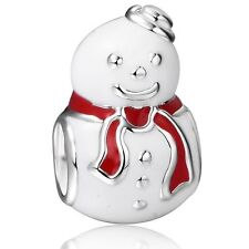 1PCS Christmas Snowman Charm  Beads fit European Silver Bracelet A018