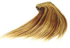 Haarverlängerung Echthaartresse glatt 20cm lang mittelbraun honigblond gesträhnt
